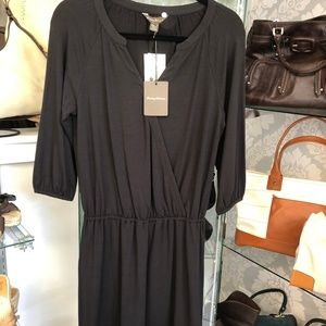 TOMMY BAHAMA Black 3/4 Sleeve Elastic Waist Dress
